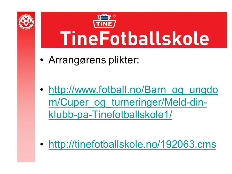Arrangørens plikter: http://www.fotball.no/Barn_og_ungdo m/Cuper_og_turneringer/Meld-din- klubb-pa-Tinefotballskole1/http://www.fotball.no/Barn_og_ungdo m/Cuper_og_turneringer/Meld-din- klubb-pa-Tinefotballskole1/ http://tinefotballskole.no/192063.cms