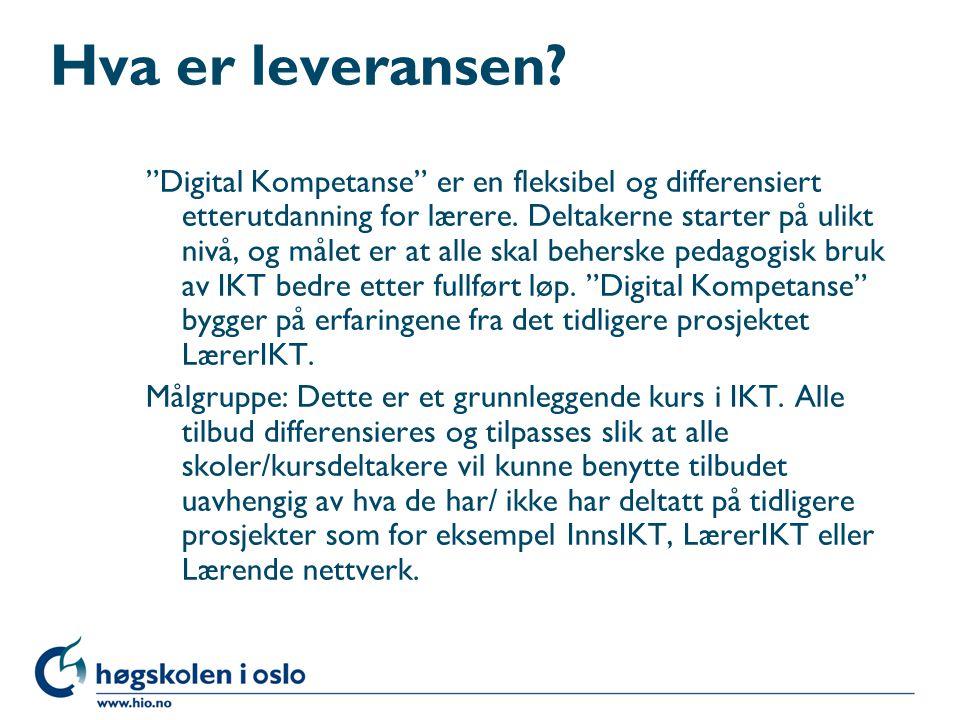Hva er leveransen. Digital Kompetanse er en fleksibel og differensiert etterutdanning for lærere.
