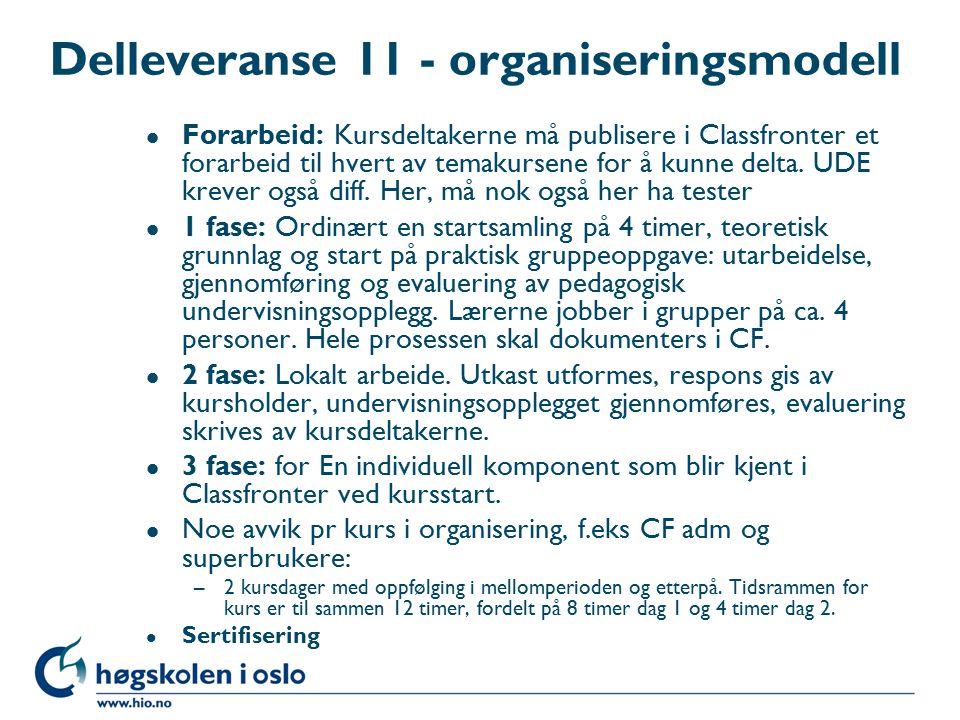 Delleveranse 11 - organiseringsmodell l Forarbeid: Kursdeltakerne må publisere i Classfronter et forarbeid til hvert av temakursene for å kunne delta.