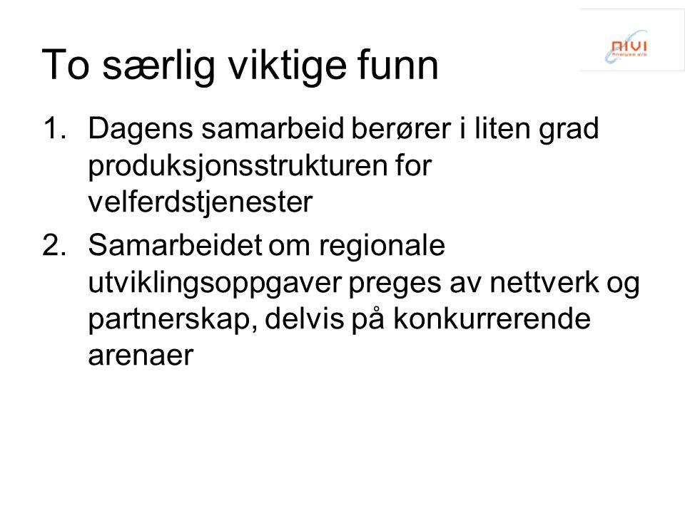 To særlig viktige funn 1.Dagens samarbeid berører i liten grad produksjonsstrukturen for velferdstjenester 2.Samarbeidet om regionale utviklingsoppgaver preges av nettverk og partnerskap, delvis på konkurrerende arenaer