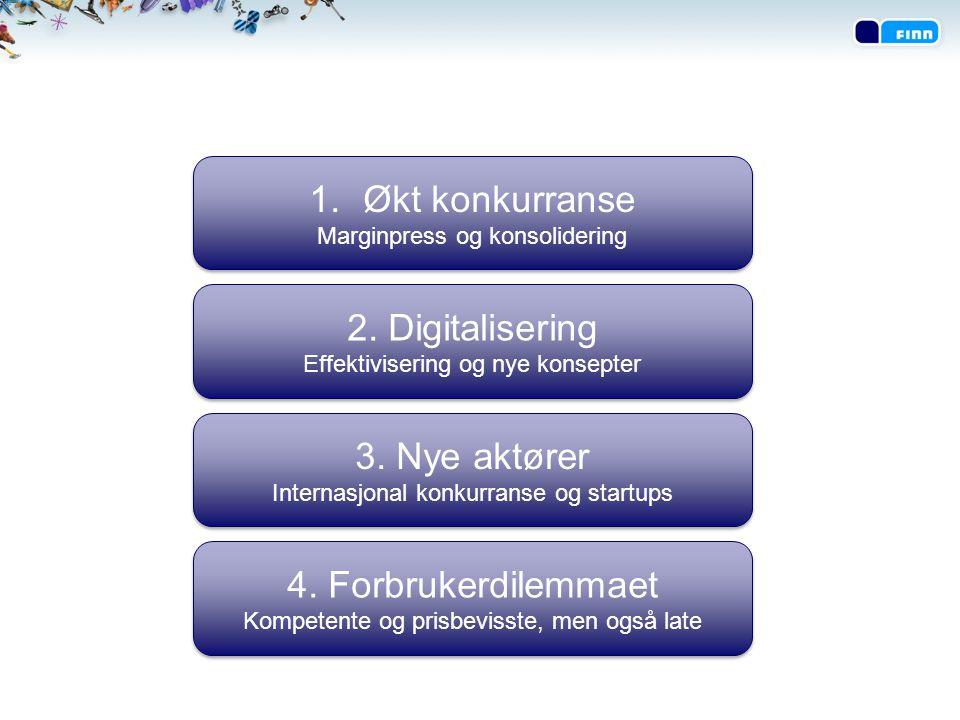 1.Økt konkurranse Marginpress og konsolidering 1.Økt konkurranse Marginpress og konsolidering 2. Digitalisering Effektivisering og nye konsepter 2. Di