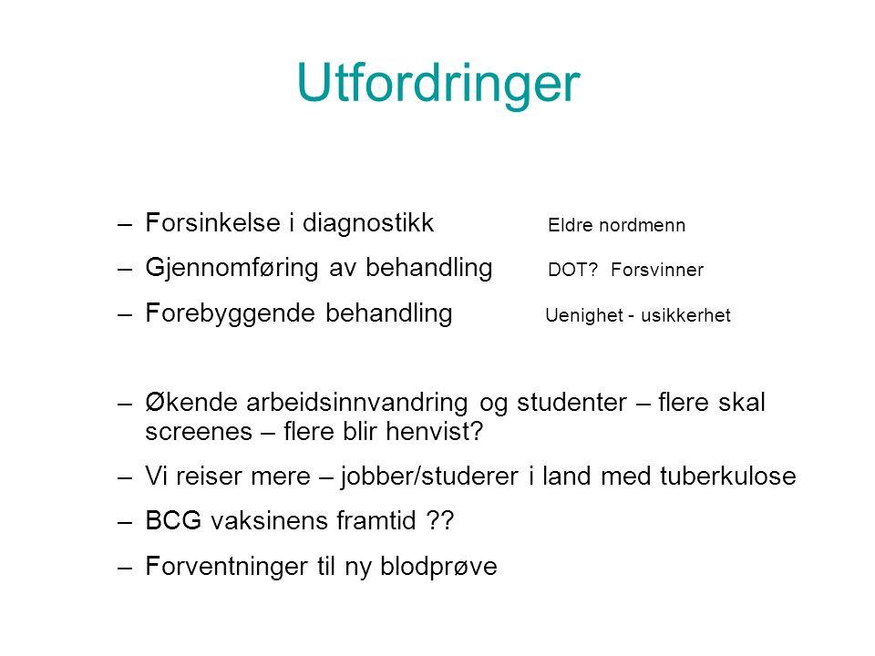 Utfordringer –Forsinkelse i diagnostikk Eldre nordmenn –Gjennomføring av behandling DOT.