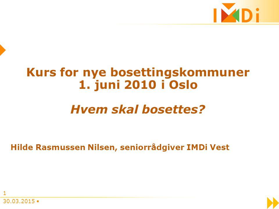 30.03.2015 1 Kurs for nye bosettingskommuner 1. juni 2010 i Oslo Hvem skal bosettes.