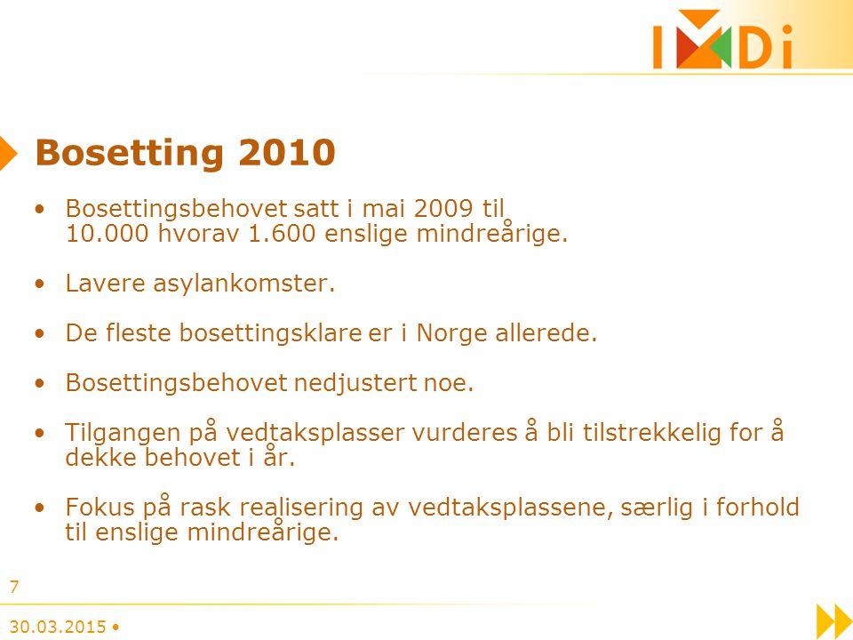 Bosetting 2010 Bosettingsbehovet satt i mai 2009 til 10.000 hvorav 1.600 enslige mindreårige.