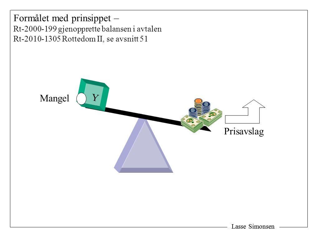 Lasse Simonsen Formålet med prinsippet – Rt-2000-199 gjenopprette balansen i avtalen Rt-2010-1305 Rottedom II, se avsnitt 51 Y Mangel Prisavslag