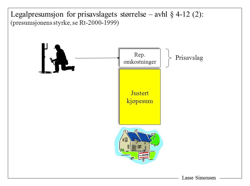 Lasse Simonsen Legalpresumsjon for prisavslagets størrelse – avhl § 4-12 (2): (presumsjonens styrke, se Rt-2000-1999) Justert kjøpesum Justert kjøpesum Rep.