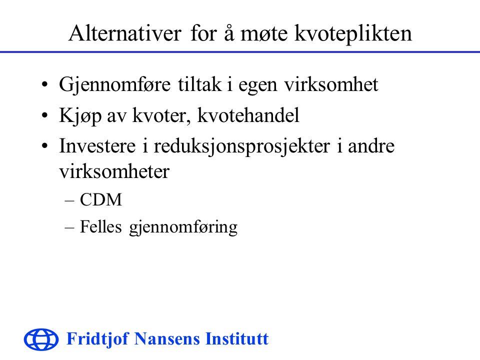 Fridtjof Nansens Institutt Alternativer for å møte kvoteplikten Gjennomføre tiltak i egen virksomhet Kjøp av kvoter, kvotehandel Investere i reduksjonsprosjekter i andre virksomheter –CDM –Felles gjennomføring