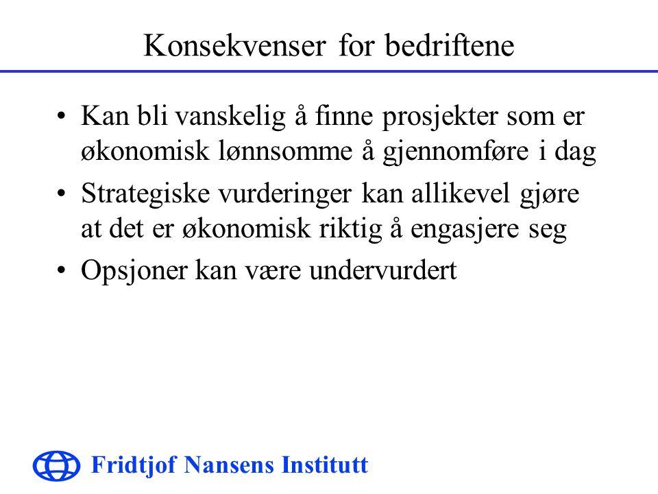 Fridtjof Nansens Institutt Konsekvenser for bedriftene Kan bli vanskelig å finne prosjekter som er økonomisk lønnsomme å gjennomføre i dag Strategiske vurderinger kan allikevel gjøre at det er økonomisk riktig å engasjere seg Opsjoner kan være undervurdert