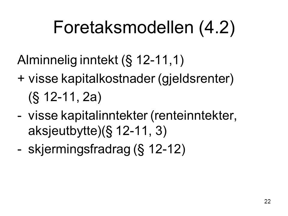 22 Foretaksmodellen (4.2) Alminnelig inntekt (§ 12-11,1) + visse kapitalkostnader (gjeldsrenter) (§ 12-11, 2a) -visse kapitalinntekter (renteinntekter, aksjeutbytte)(§ 12-11, 3) -skjermingsfradrag (§ 12-12)