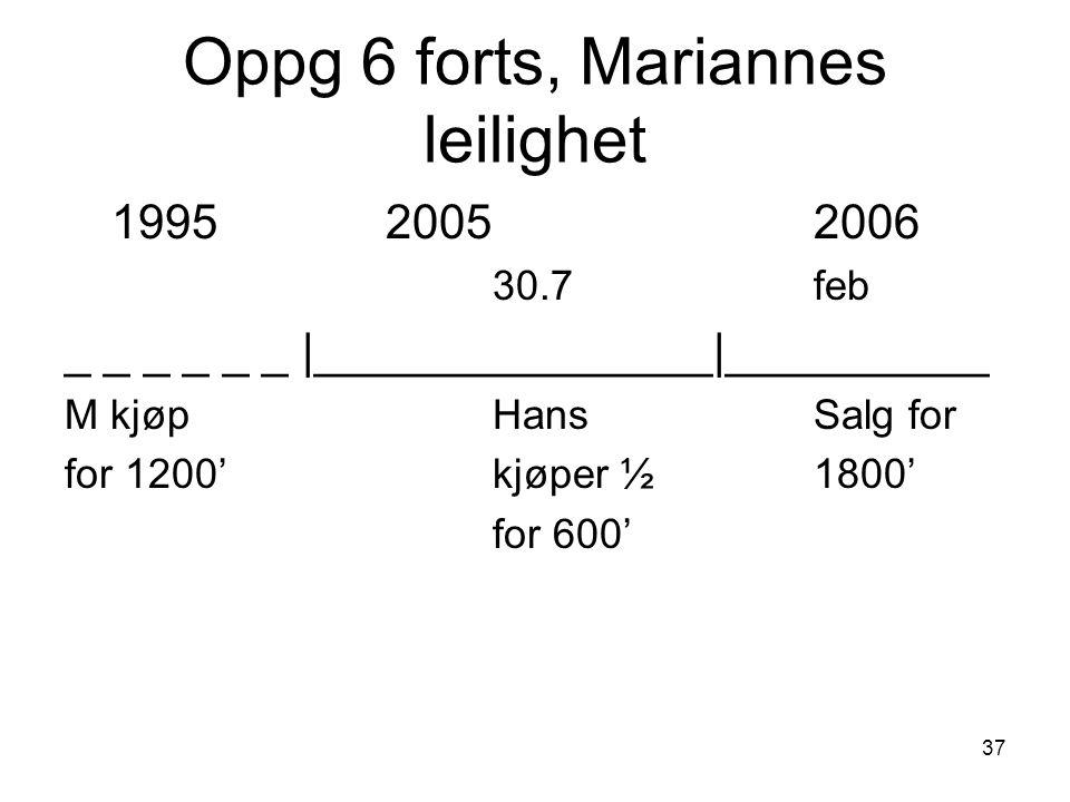 Oppg 6 forts, Mariannes leilighet 199520052006 30.7feb _ _ _ _ _ _ |_______________|__________ M kjøpHansSalg for for 1200'kjøper ½1800' for 600' 37