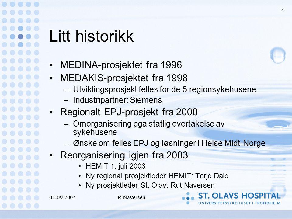 01.09.2005R Naversen 4 Litt historikk MEDINA-prosjektet fra 1996 MEDAKIS-prosjektet fra 1998 –Utviklingsprosjekt felles for de 5 regionsykehusene –Ind