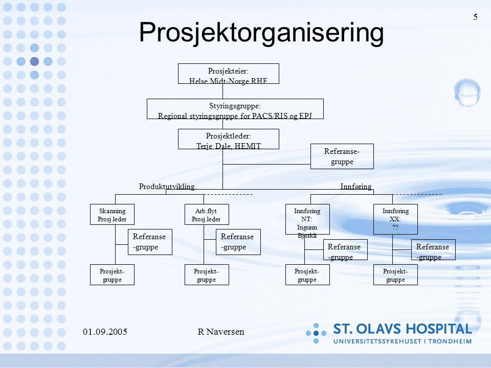 01.09.2005R Naversen 5 Prosjektorganisering Prosjekteier: Helse Midt-Norge RHF Styringsgruppe: Regional styringsgruppe for PACS/RIS og EPJ Prosjektled