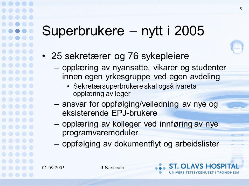 01.09.2005R Naversen 9 Superbrukere – nytt i 2005 25 sekretærer og 76 sykepleiere –opplæring av nyansatte, vikarer og studenter innen egen yrkesgruppe