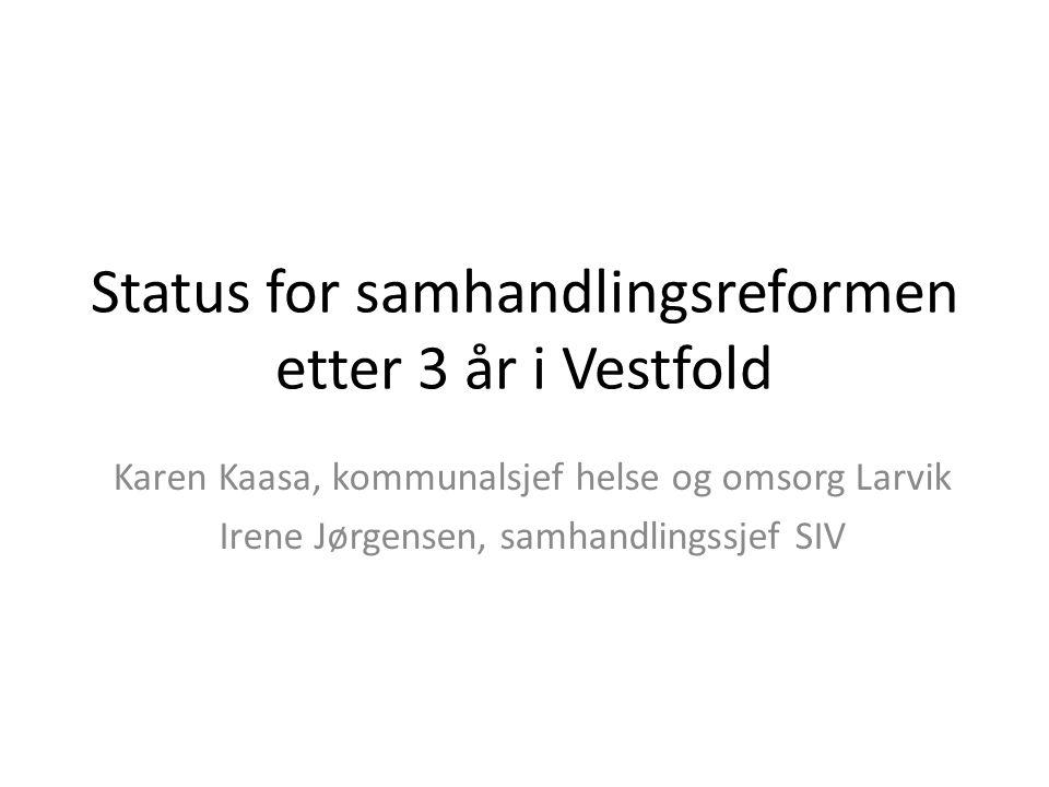 Status for samhandlingsreformen etter 3 år i Vestfold Karen Kaasa, kommunalsjef helse og omsorg Larvik Irene Jørgensen, samhandlingssjef SIV