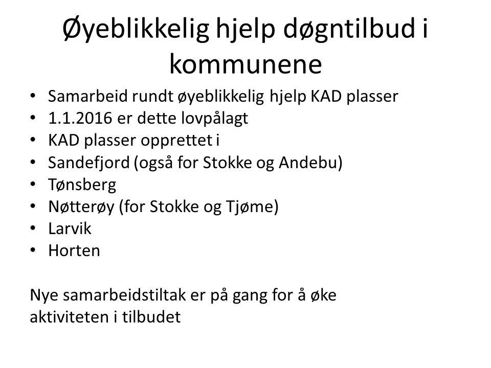 Øyeblikkelig hjelp døgntilbud i kommunene Samarbeid rundt øyeblikkelig hjelp KAD plasser 1.1.2016 er dette lovpålagt KAD plasser opprettet i Sandefjor