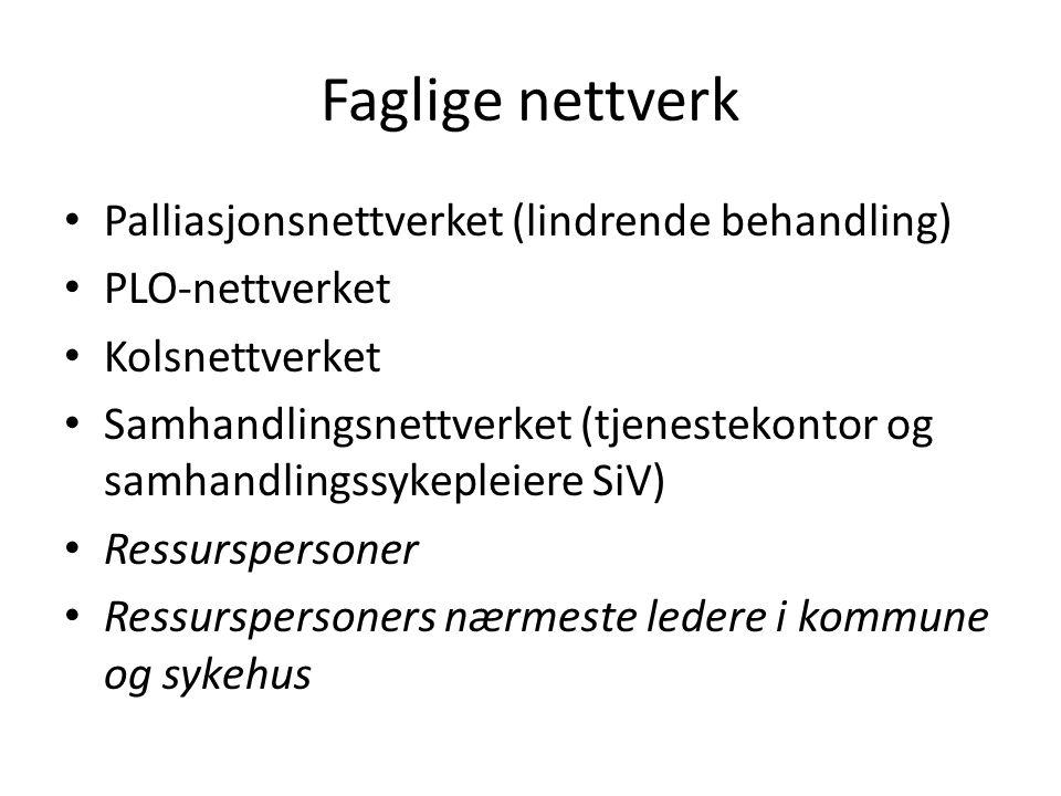 Faglige nettverk Palliasjonsnettverket (lindrende behandling) PLO-nettverket Kolsnettverket Samhandlingsnettverket (tjenestekontor og samhandlingssyke