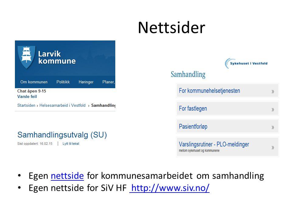 Nettsider Egen nettside for kommunesamarbeidet om samhandlingnettside Egen nettside for SiV HF http://www.siv.no/ http://www.siv.no/