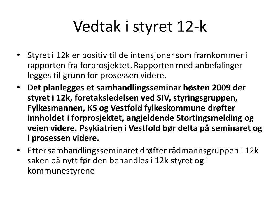 Vedtak i styret 12-k Styret i 12k er positiv til de intensjoner som framkommer i rapporten fra forprosjektet. Rapporten med anbefalinger legges til gr