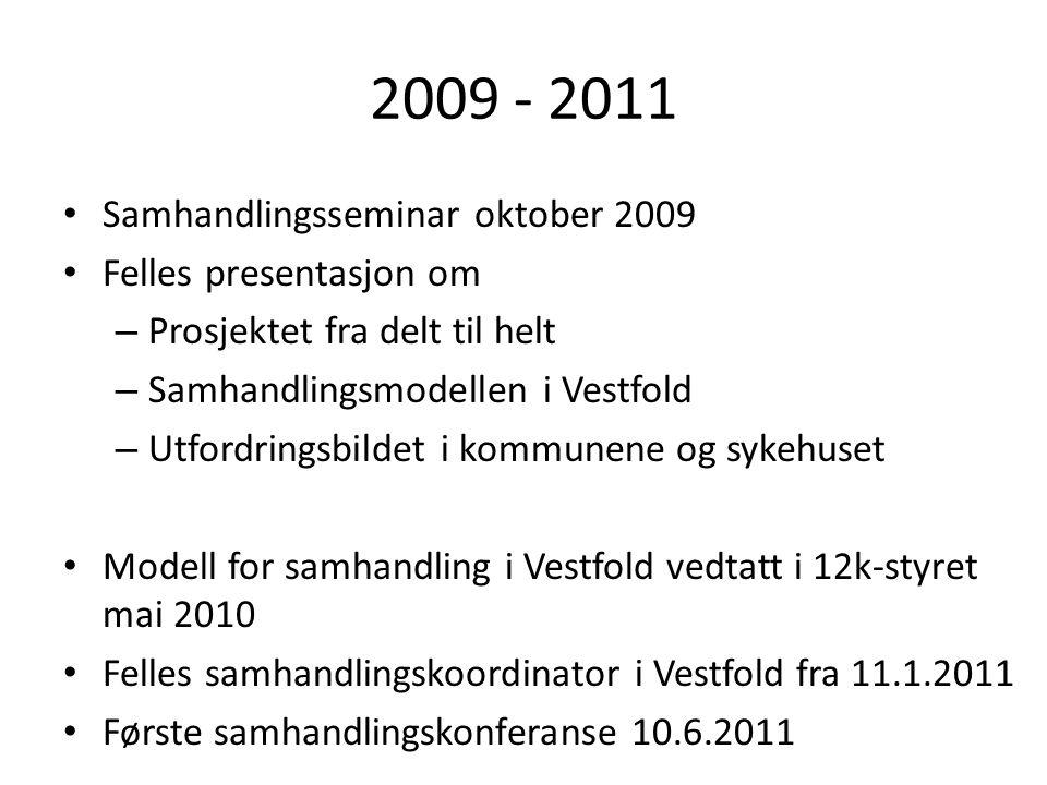 2009 - 2011 Samhandlingsseminar oktober 2009 Felles presentasjon om – Prosjektet fra delt til helt – Samhandlingsmodellen i Vestfold – Utfordringsbild