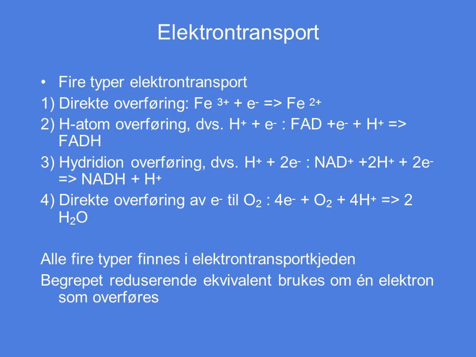 Elektrontransport Fire typer elektrontransport 1) Direkte overføring: Fe 3+ + e - => Fe 2+ 2) H-atom overføring, dvs. H + + e - : FAD +e - + H + => FA