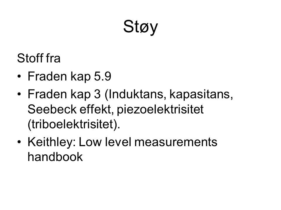 Støy Stoff fra Fraden kap 5.9 Fraden kap 3 (Induktans, kapasitans, Seebeck effekt, piezoelektrisitet (triboelektrisitet).