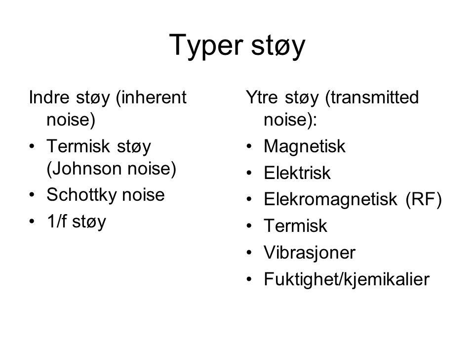 Typer støy Indre støy (inherent noise) Termisk støy (Johnson noise) Schottky noise 1/f støy Ytre støy (transmitted noise): Magnetisk Elektrisk Elekromagnetisk (RF) Termisk Vibrasjoner Fuktighet/kjemikalier