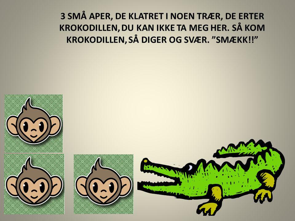 """3 SMÅ APER, DE KLATRET I NOEN TRÆR, DE ERTER KROKODILLEN, DU KAN IKKE TA MEG HER. SÅ KOM KROKODILLEN, SÅ DIGER OG SVÆR. """"SMÆKK!!"""""""