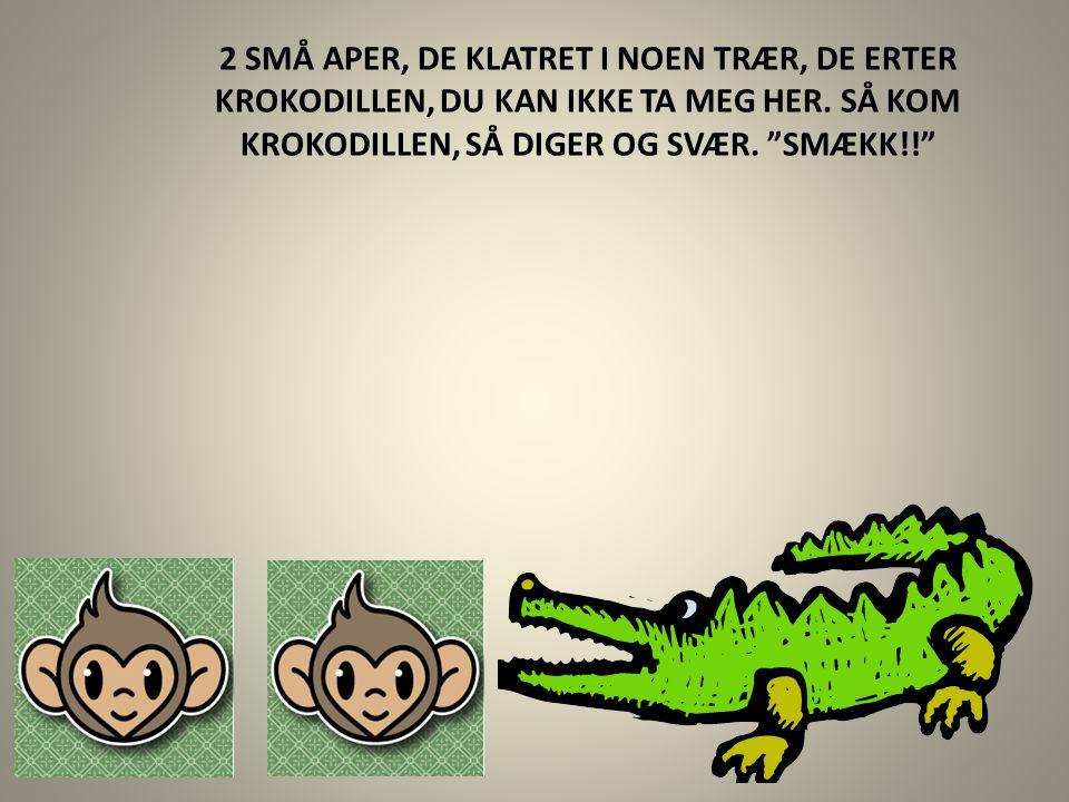 """2 SMÅ APER, DE KLATRET I NOEN TRÆR, DE ERTER KROKODILLEN, DU KAN IKKE TA MEG HER. SÅ KOM KROKODILLEN, SÅ DIGER OG SVÆR. """"SMÆKK!!"""""""