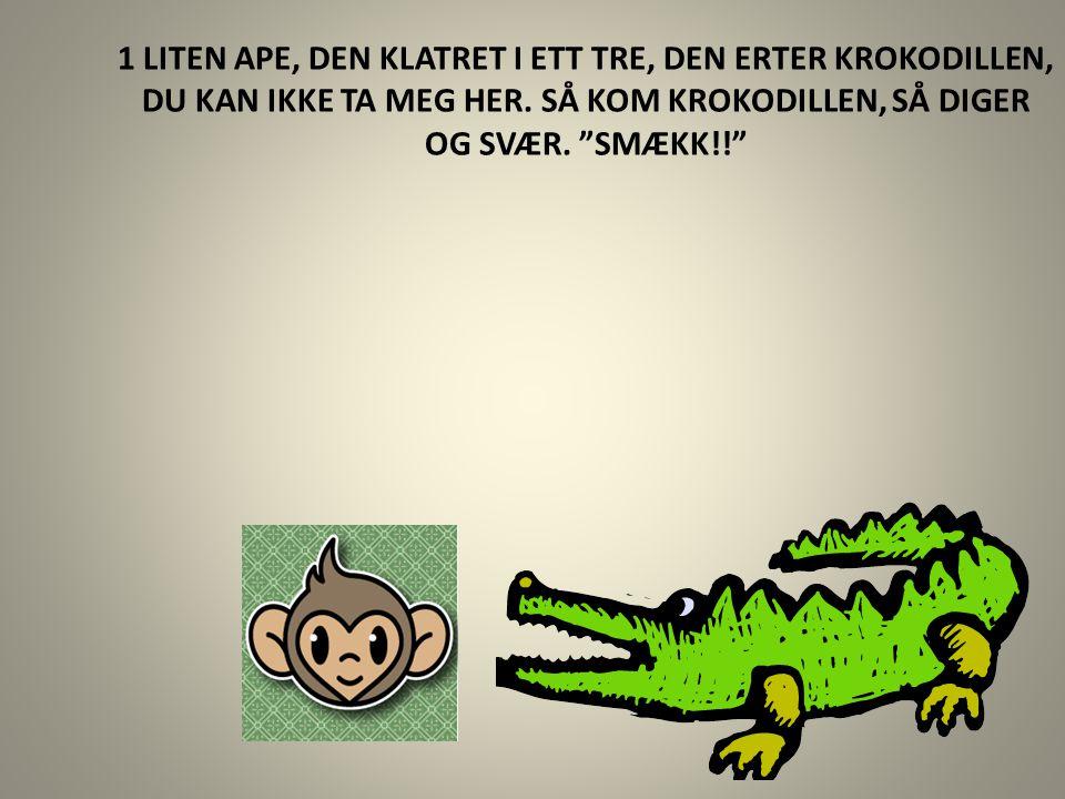 """1 LITEN APE, DEN KLATRET I ETT TRE, DEN ERTER KROKODILLEN, DU KAN IKKE TA MEG HER. SÅ KOM KROKODILLEN, SÅ DIGER OG SVÆR. """"SMÆKK!!"""""""