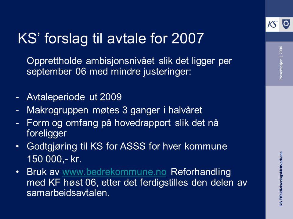 KS EffektiviseringsNettverkene Presentasjon | 2006 KS' forslag til avtale for 2007 Opprettholde ambisjonsnivået slik det ligger per september 06 med m