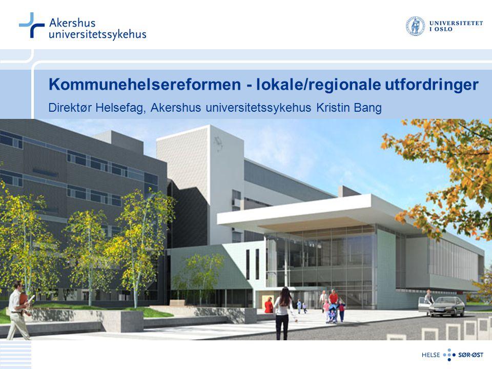 Kommunehelsereformen - lokale/regionale utfordringer Direktør Helsefag, Akershus universitetssykehus Kristin Bang