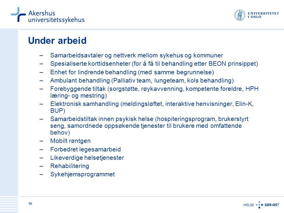10 Under arbeid –Samarbeidsavtaler og nettverk mellom sykehus og kommuner –Spesialiserte korttidsenheter (for å få til behandling etter BEON prinsippe