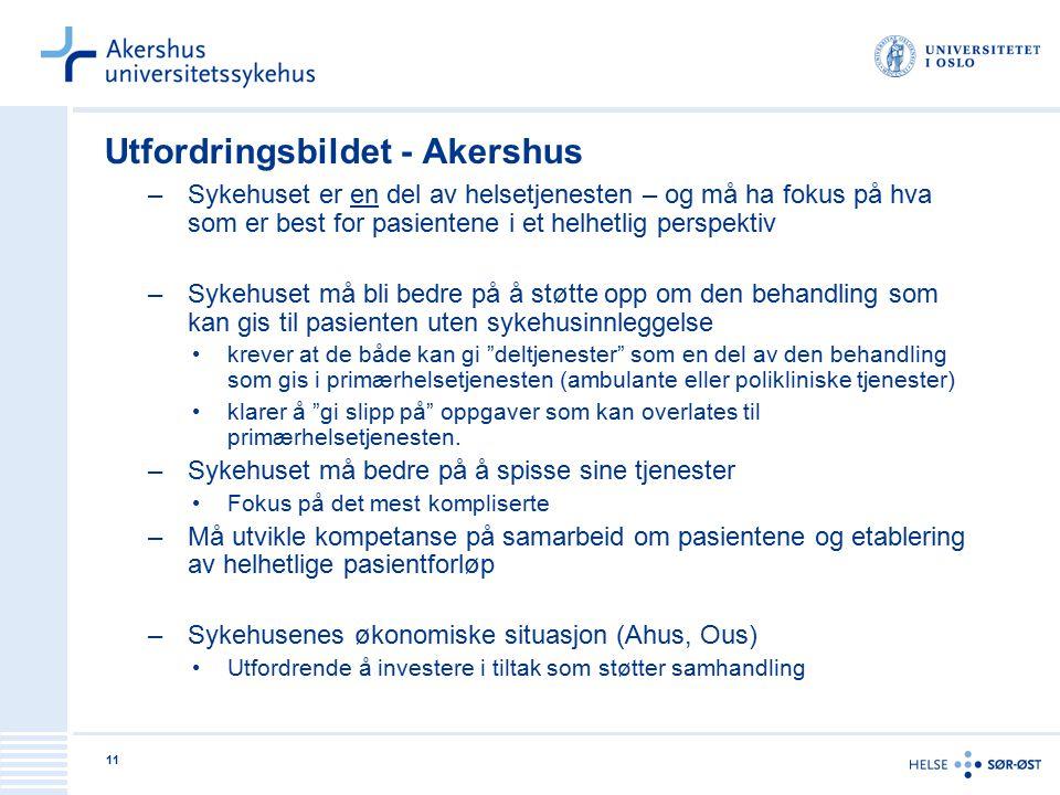 11 Utfordringsbildet - Akershus –Sykehuset er en del av helsetjenesten – og må ha fokus på hva som er best for pasientene i et helhetlig perspektiv –S