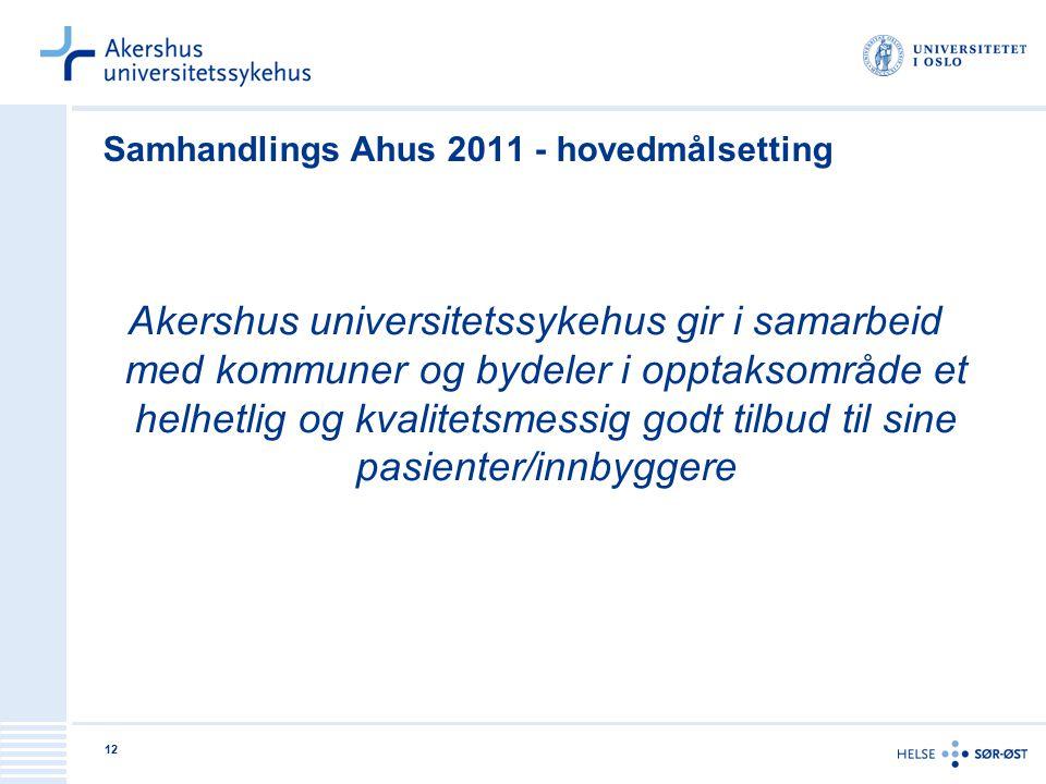 12 Samhandlings Ahus 2011 - hovedmålsetting Akershus universitetssykehus gir i samarbeid med kommuner og bydeler i opptaksområde et helhetlig og kvali
