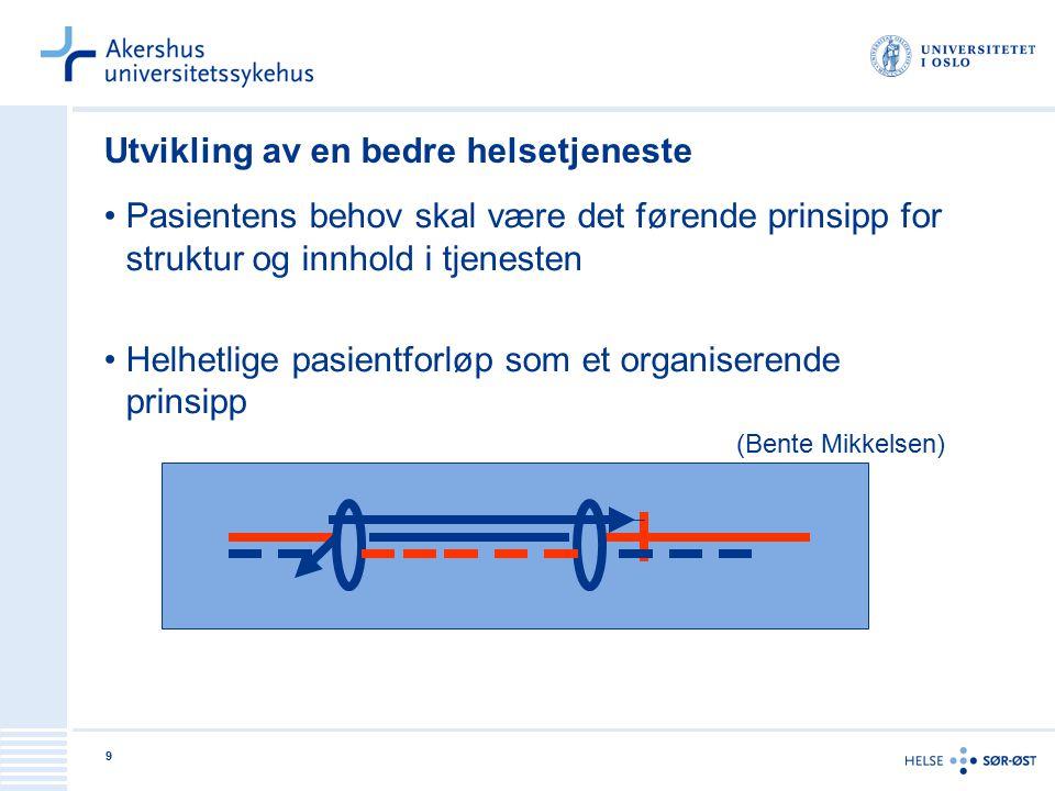 9 Utvikling av en bedre helsetjeneste Pasientens behov skal være det førende prinsipp for struktur og innhold i tjenesten Helhetlige pasientforløp som