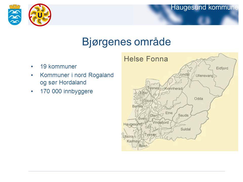 Bjørgenes område 19 kommuner Kommuner i nord Rogaland og sør Hordaland 170 000 innbyggere