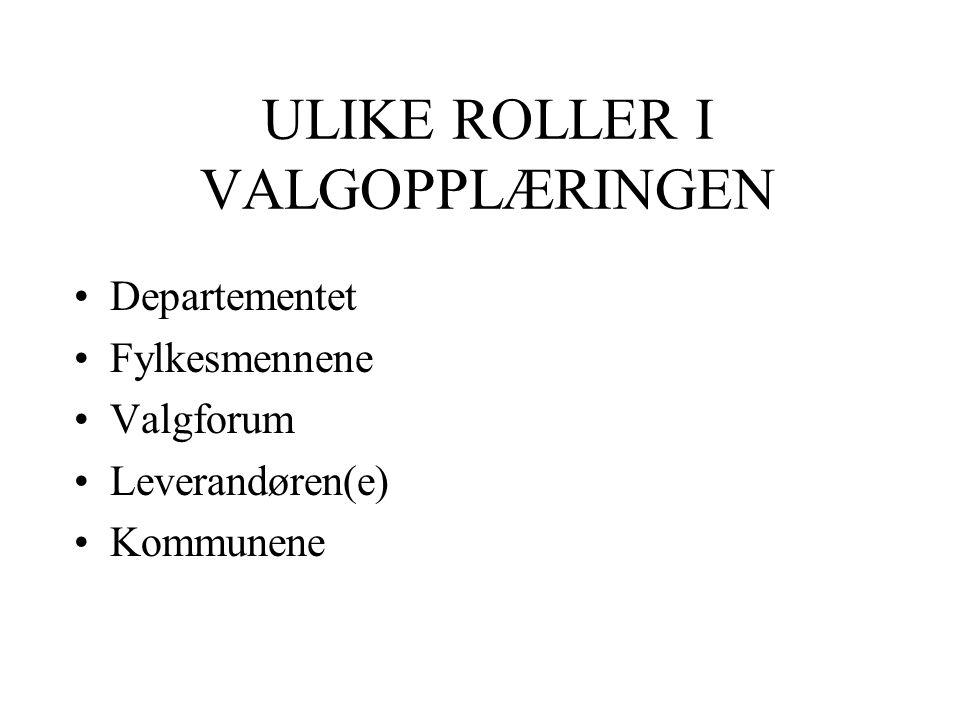 ULIKE ROLLER I VALGOPPLÆRINGEN Departementet Fylkesmennene Valgforum Leverandøren(e) Kommunene