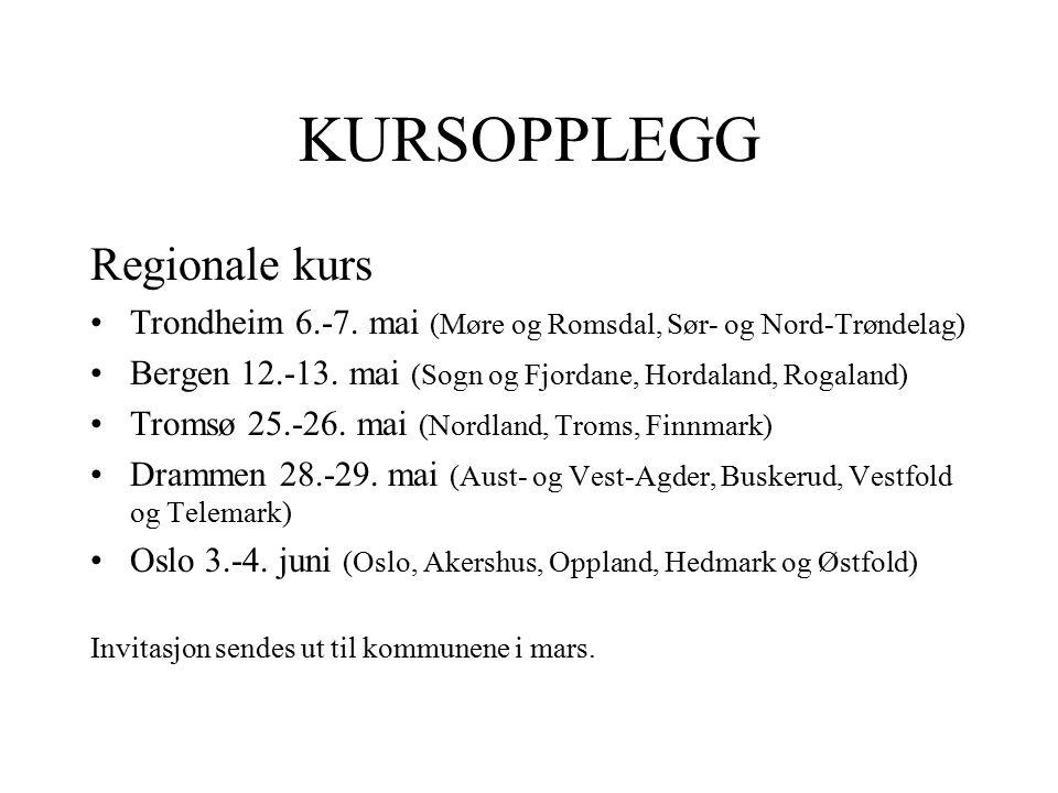 KURSOPPLEGG Regionale kurs Trondheim 6.-7. mai (Møre og Romsdal, Sør- og Nord-Trøndelag) Bergen 12.-13. mai (Sogn og Fjordane, Hordaland, Rogaland) Tr