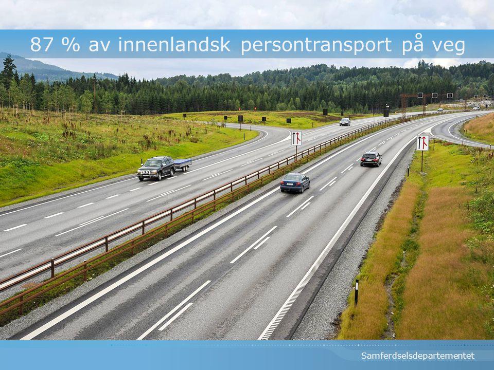 87 % av innenlandsk persontransport på veg
