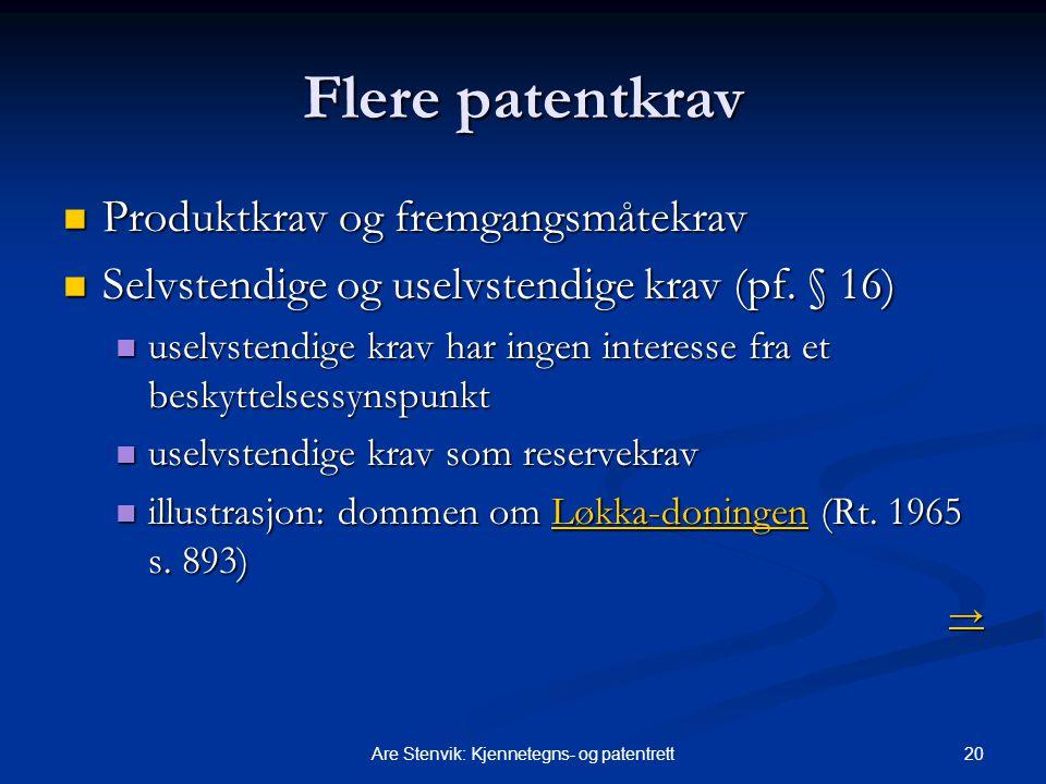 20Are Stenvik: Kjennetegns- og patentrett Flere patentkrav Produktkrav og fremgangsmåtekrav Produktkrav og fremgangsmåtekrav Selvstendige og uselvsten