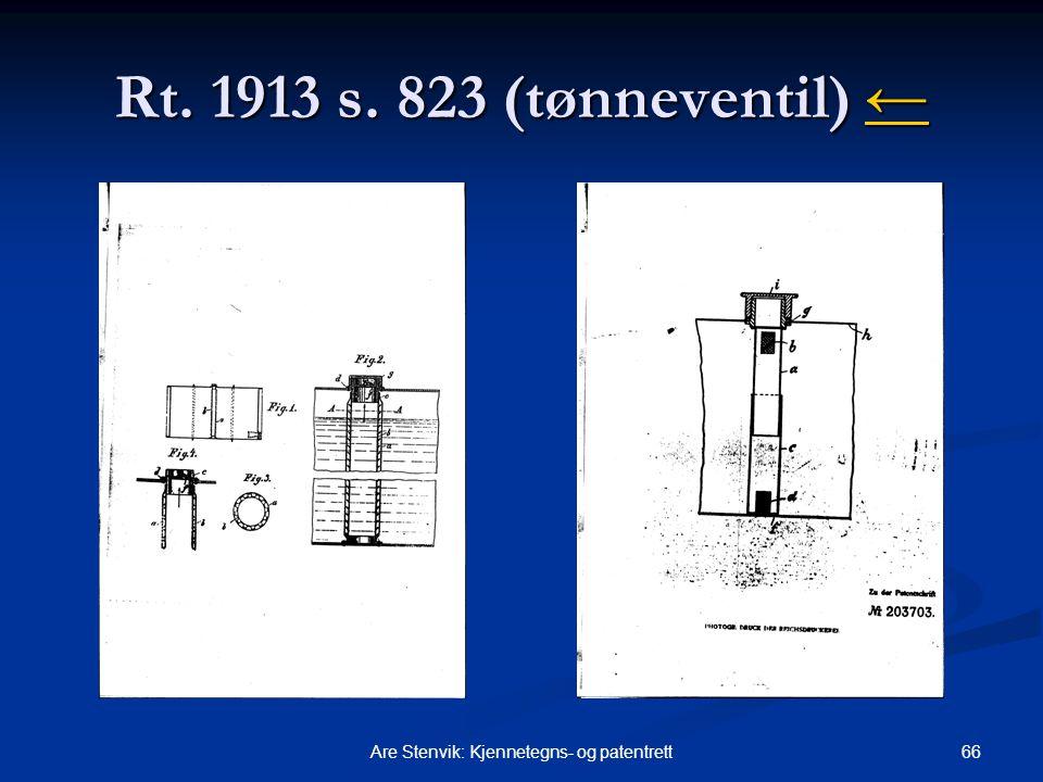 66Are Stenvik: Kjennetegns- og patentrett Rt. 1913 s. 823 (tønneventil) ← ←