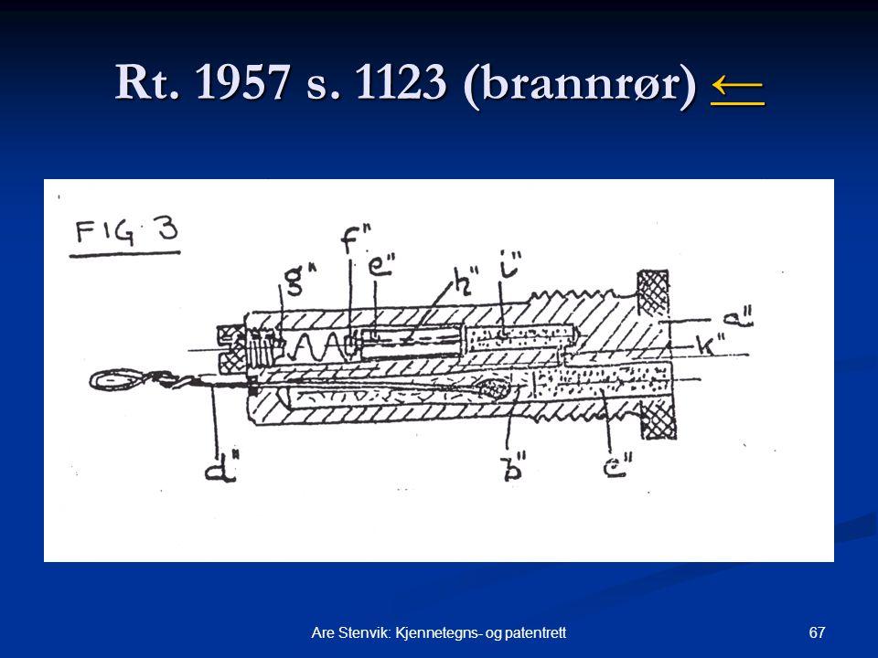 67Are Stenvik: Kjennetegns- og patentrett Rt. 1957 s. 1123 (brannrør) ← ←