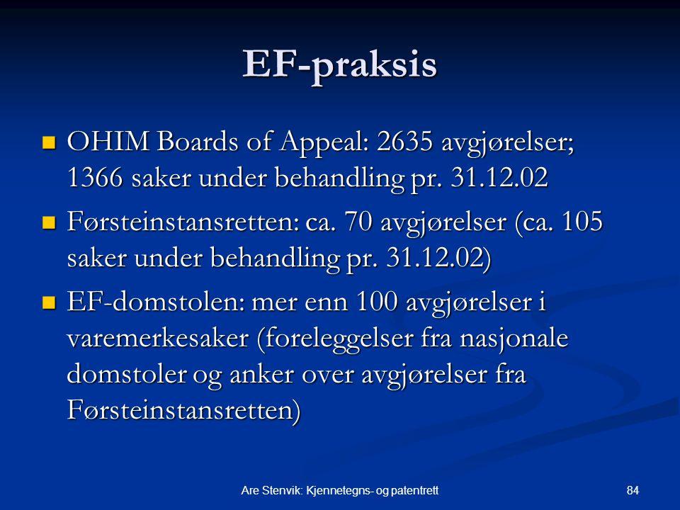 84Are Stenvik: Kjennetegns- og patentrett EF-praksis OHIM Boards of Appeal: 2635 avgjørelser; 1366 saker under behandling pr. 31.12.02 OHIM Boards of