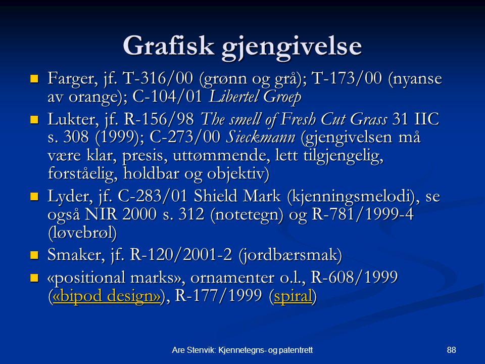 88Are Stenvik: Kjennetegns- og patentrett Grafisk gjengivelse Farger, jf. T-316/00 (grønn og grå); T ‑ 173/00 (nyanse av orange); C-104/01 Libertel Gr