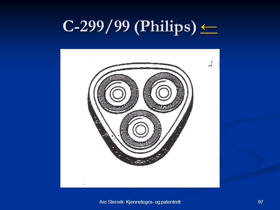 97Are Stenvik: Kjennetegns- og patentrett C ‑ 299/99 (Philips) ← ←