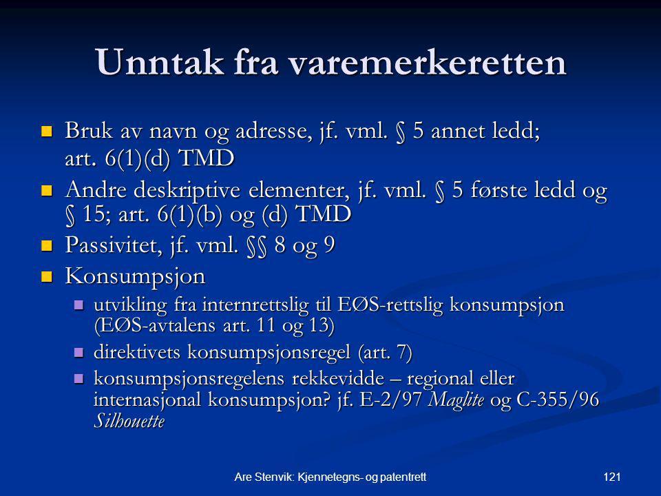 121Are Stenvik: Kjennetegns- og patentrett Unntak fra varemerkeretten Bruk av navn og adresse, jf. vml. § 5 annet ledd; art. 6(1)(d) TMD Bruk av navn