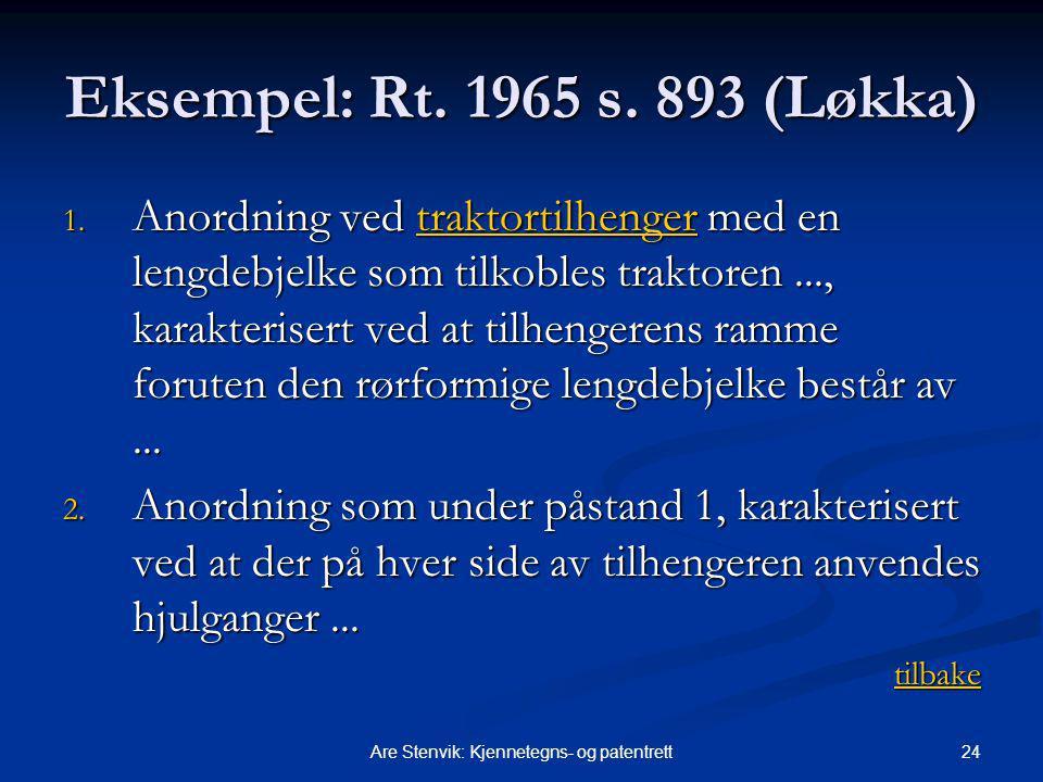 24Are Stenvik: Kjennetegns- og patentrett Eksempel: Rt. 1965 s. 893 (Løkka) 1. Anordning ved traktortilhenger med en lengdebjelke som tilkobles trakto