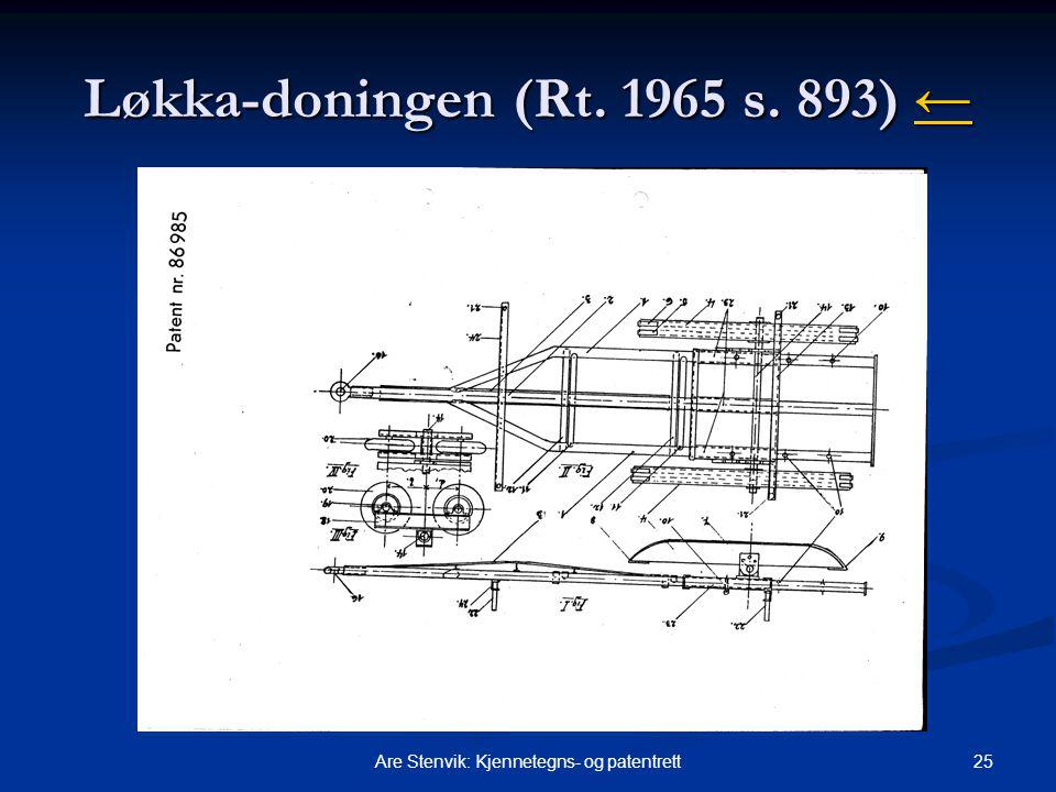25Are Stenvik: Kjennetegns- og patentrett Løkka-doningen (Rt. 1965 s. 893) ← ←