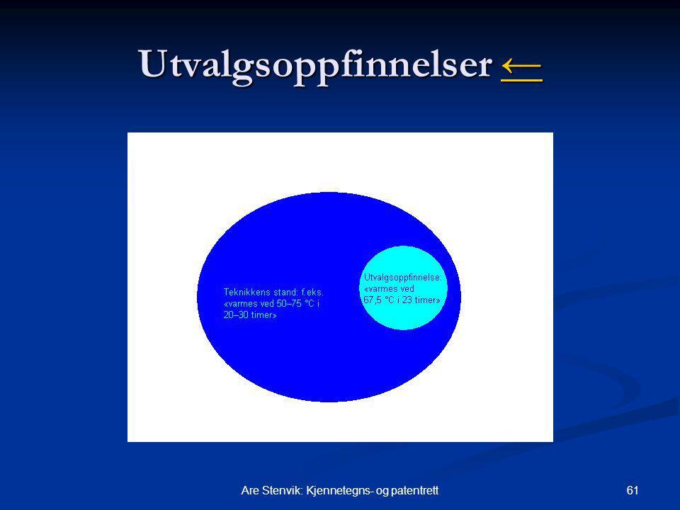 61Are Stenvik: Kjennetegns- og patentrett Utvalgsoppfinnelser ← ←