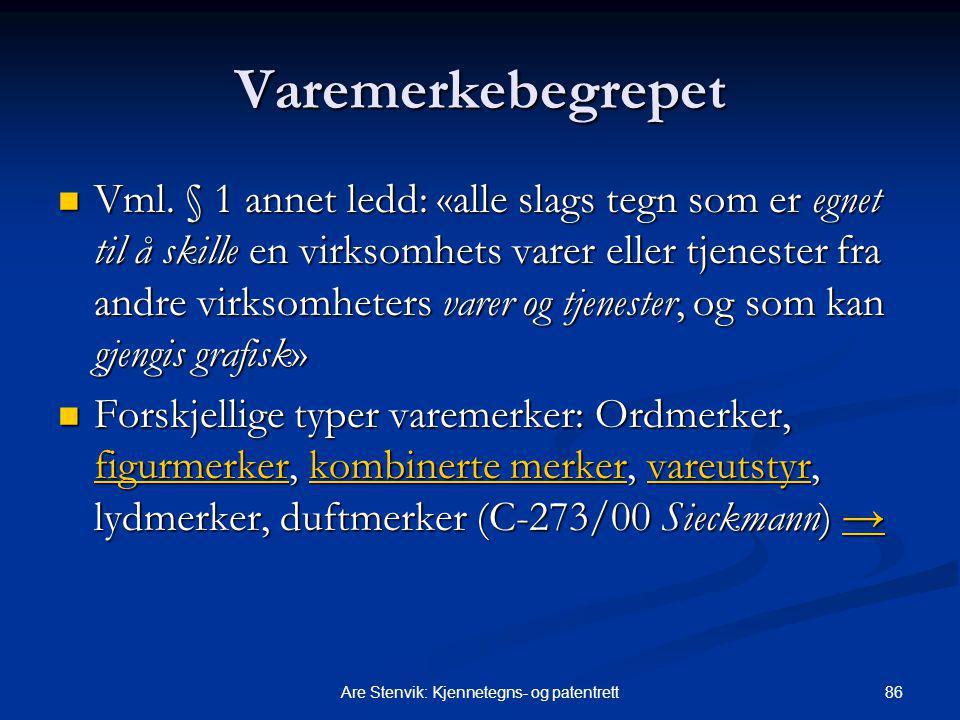 86Are Stenvik: Kjennetegns- og patentrett Varemerkebegrepet Vml. § 1 annet ledd: «alle slags tegn som er egnet til å skille en virksomhets varer eller